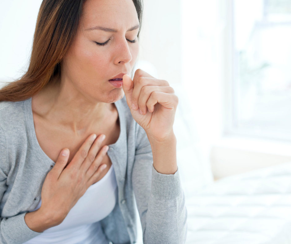 a women coughing